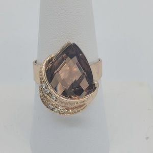 Brown and gold stone ring